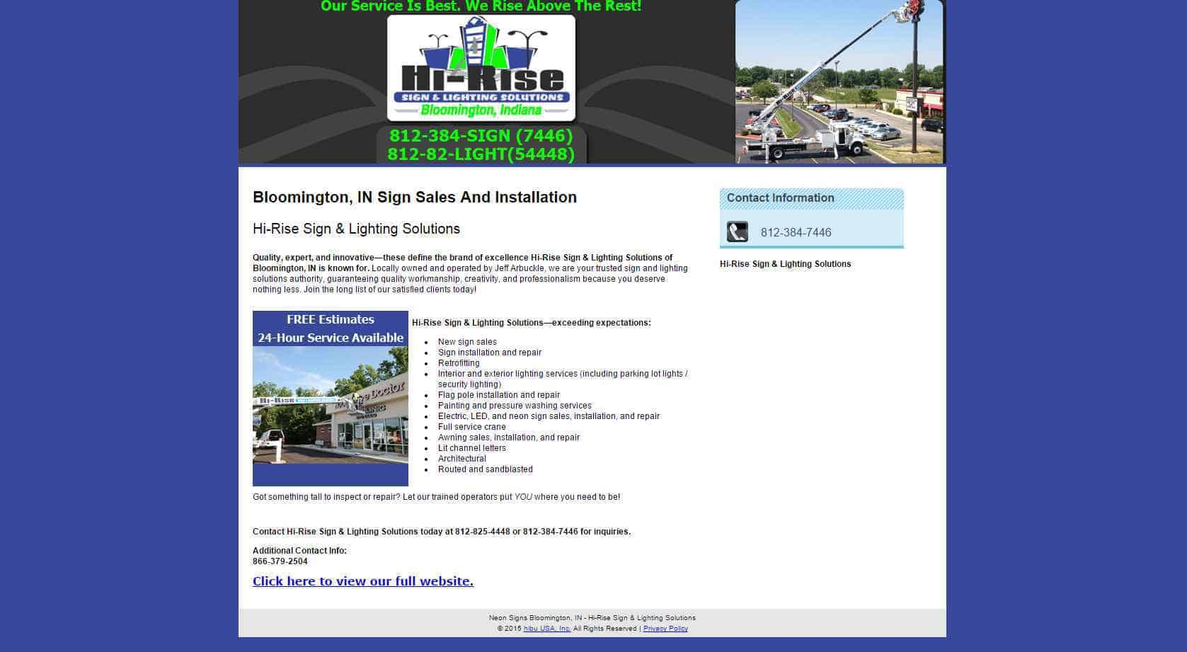 Hi Rise Sign and Lighting Solutions previous website